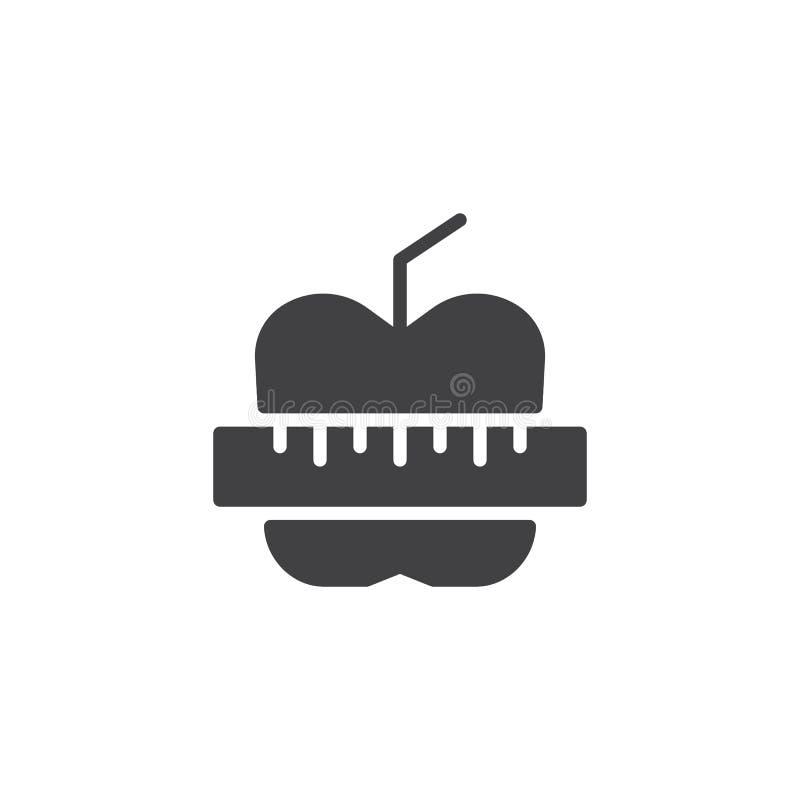 Apple och mäta bandvektorsymbolen stock illustrationer