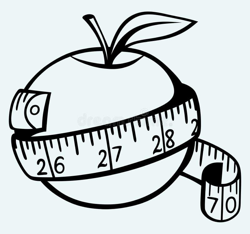 Apple och måttband royaltyfri illustrationer