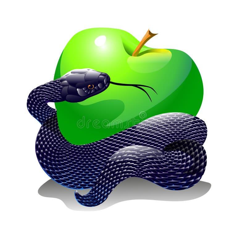 Apple och orm vektor illustrationer