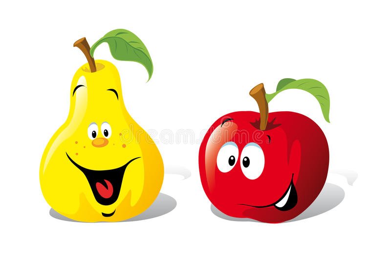 Apple och pear vektor illustrationer
