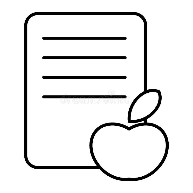 Apple och tunn linje symbol för lista Bära frukt och lista vektorillustrationen som isoleras på vit Förklaring av frukttrans. stock illustrationer