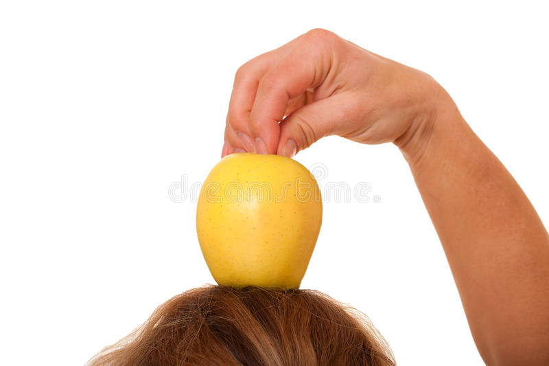 Apple op hoofd. stock fotografie