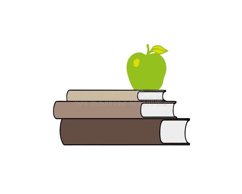 Apple op hoogste stapel boekt witte achtergrondillustratievector Het concept van het onderwijs stock illustratie