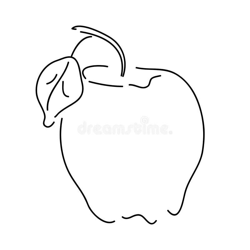 Apple op wit overzicht als achtergrond royalty-vrije stock afbeeldingen