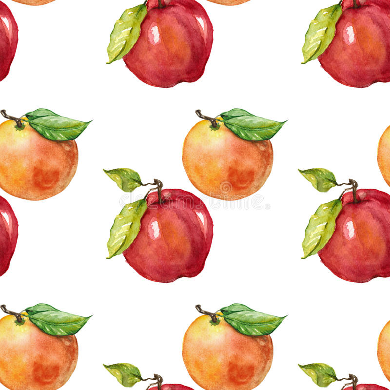 Apple and orange. Seamless watercolor pattern vector illustration