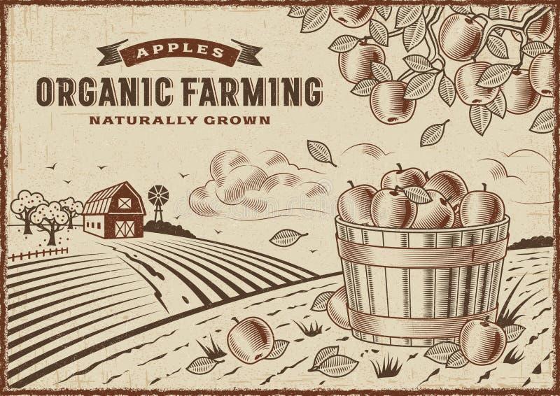 Apple Organic Farming Landscape vector illustration