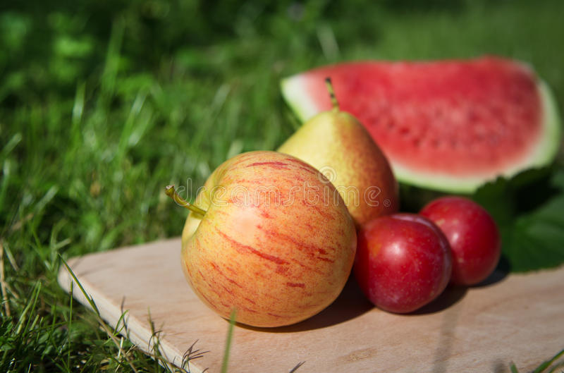 Apple With Other Fruits In The Garden Royalty Free Stock Photography