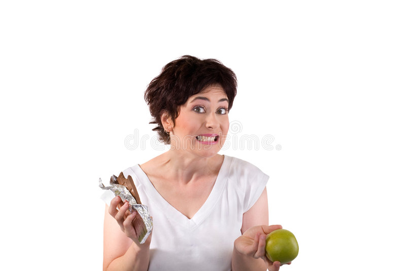 Apple ou chocolate fotos de stock