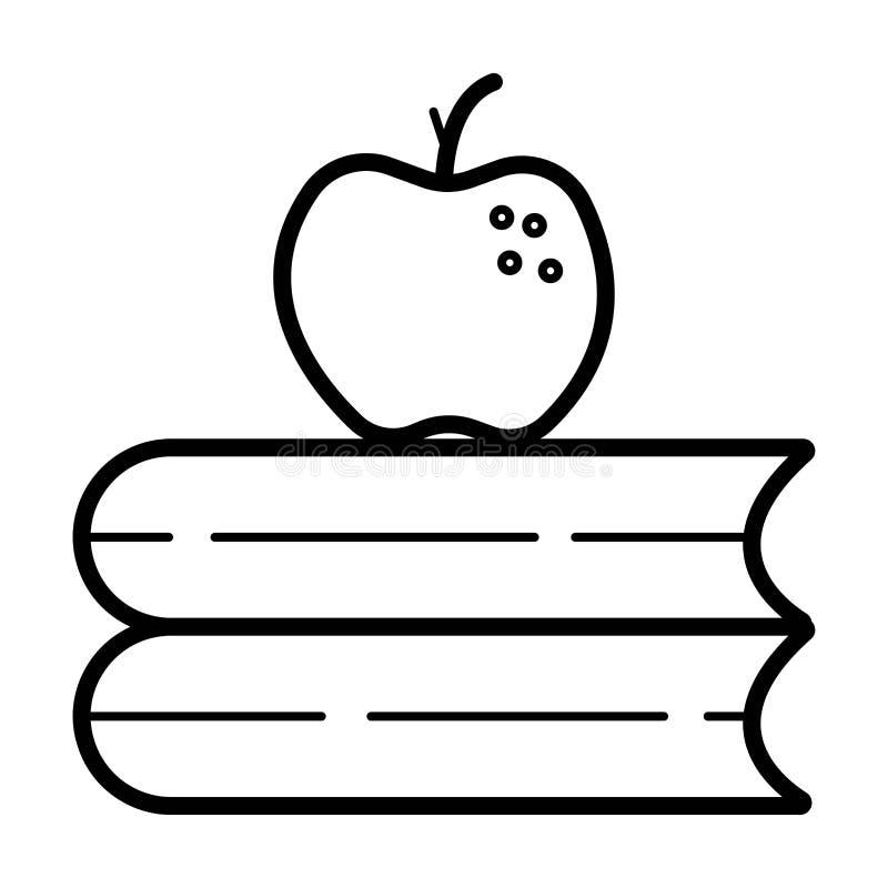 Apple på böcker, kunskap stock illustrationer