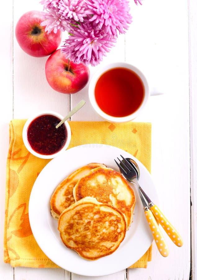 Apple pancakes, jam royalty free stock photo