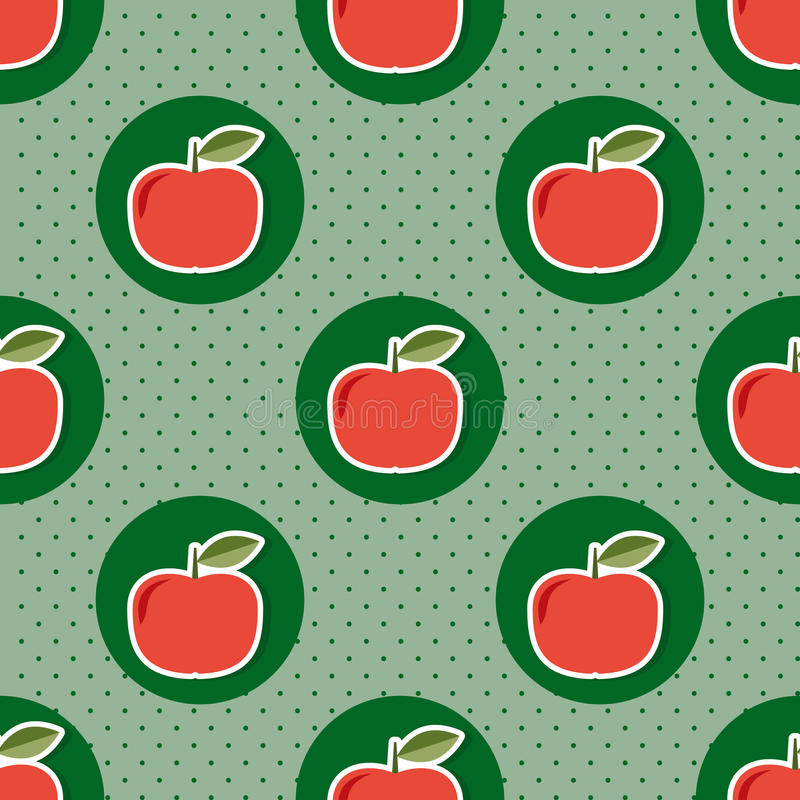 Apple pattern. Seamless texture with ripe red apples royalty free illustration