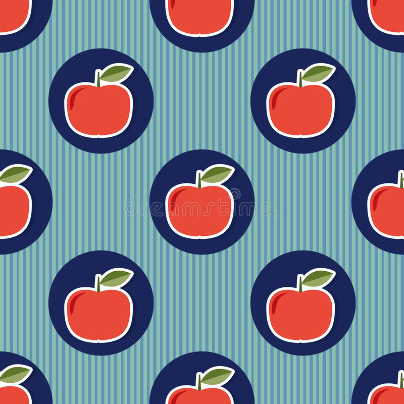Apple pattern. Seamless texture with ripe red apples vector illustration
