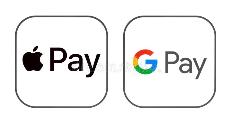 Apple Pay and Google Pay icons. Kiev, Ukraine - March 01, 2019: Apple Pay and Google Pay icons printed on paper. Apple Pay is a mobile payment & digital wallet royalty free stock photos
