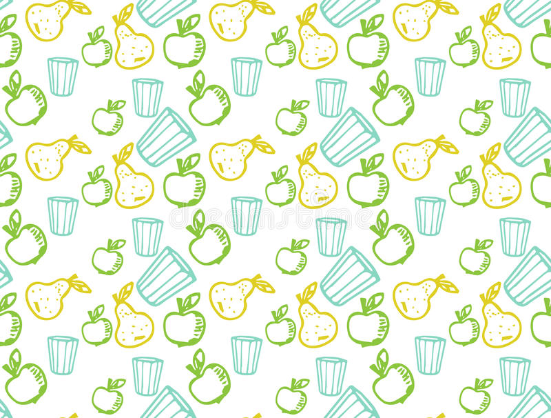 Apple and pear in Doodle style stock photography