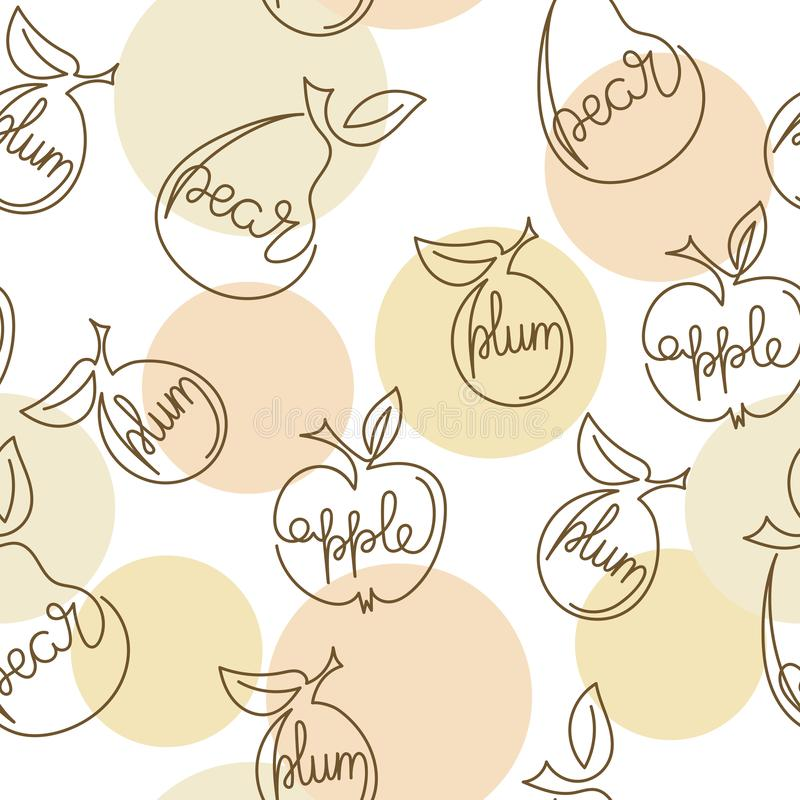 Apple, pear, plum - one continuous line of drawing. Hand drawn vector illustration . Seamless pattern stock illustration