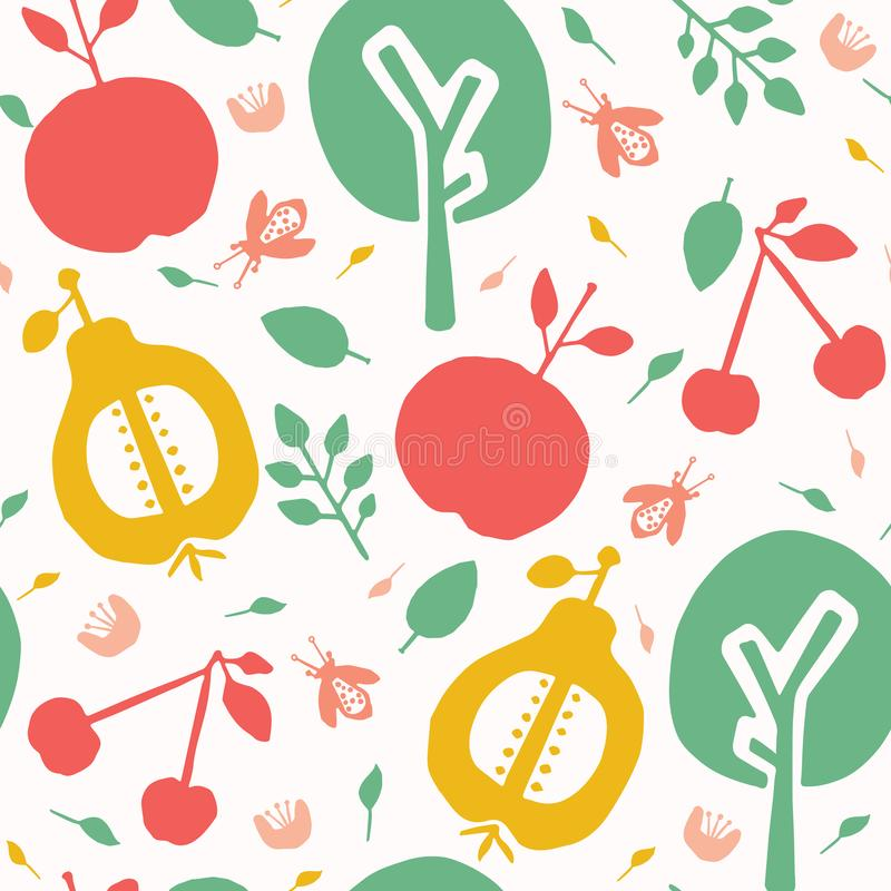Apple pear tree cherry orchard seamless vector pattern background. Hand drawn tossed paper cut out . Matisse style. Fruit garden stock illustration
