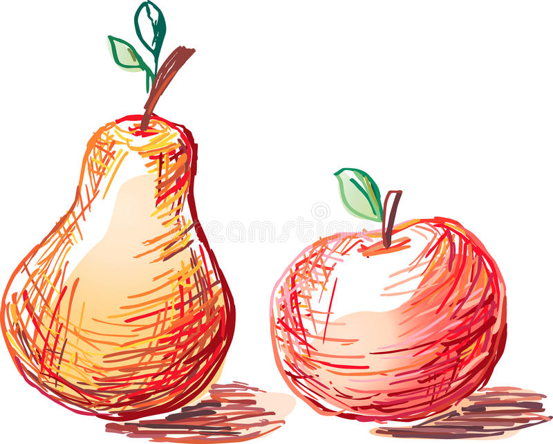 Apple And Pear Stock Vector. Illustration Of Drawn, Food