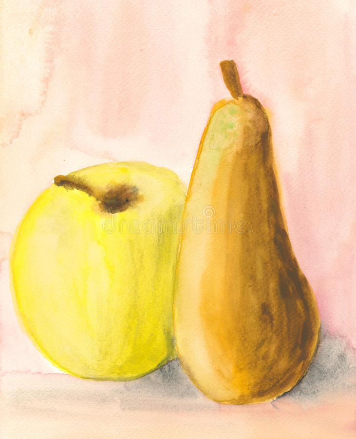 Download Apple And Pear - Watercolour Painting Stock Illustration - Image: 24374525