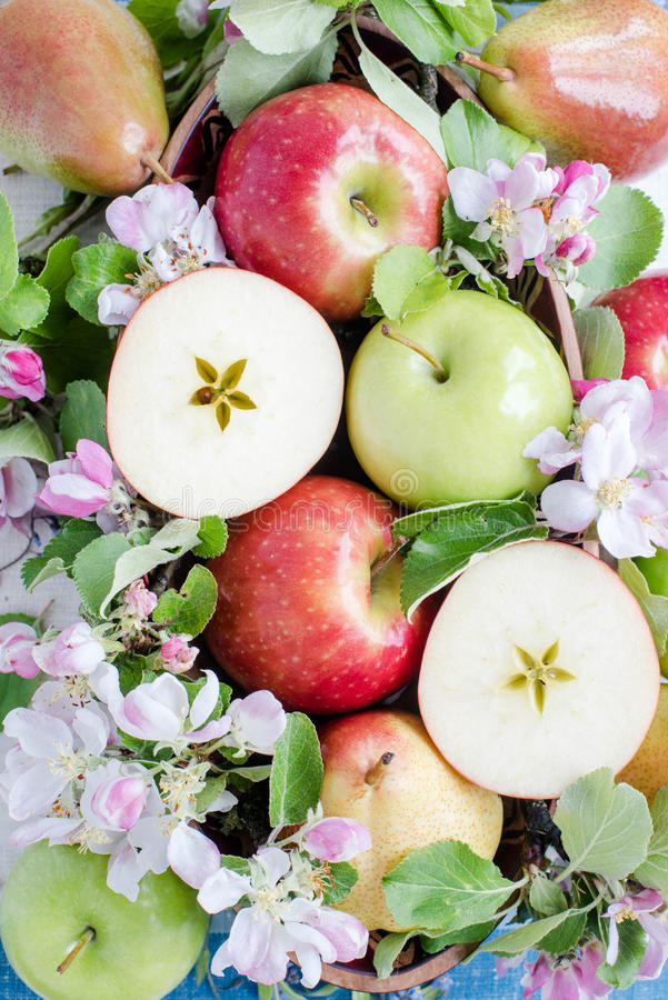 Apple and pears in ball composition stock photography
