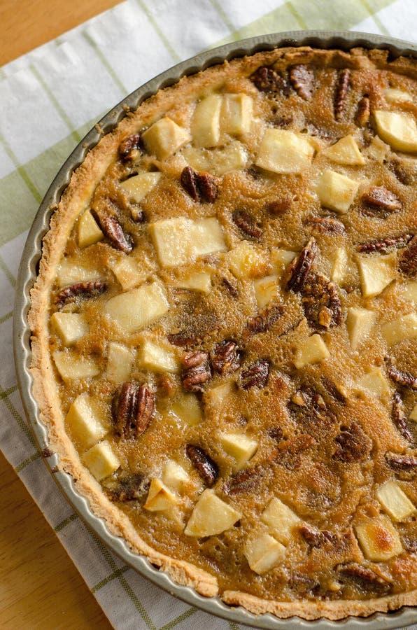 Apple pecan pie stock photo