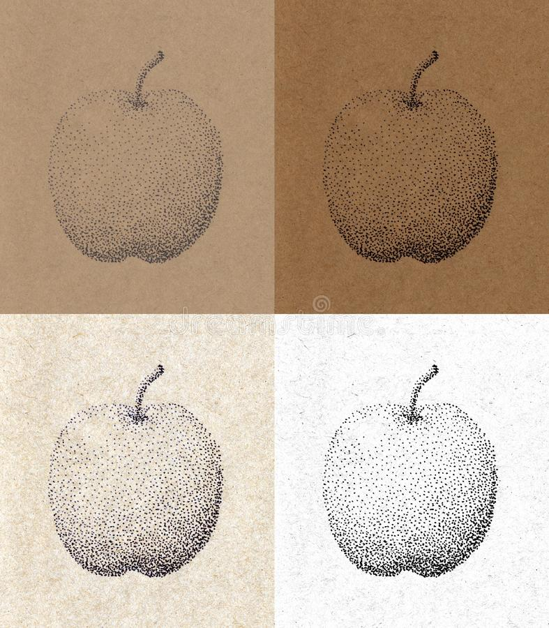 Apple pen-drawn dots on old crafting paper. With beautiful texture brown and black and white royalty free illustration