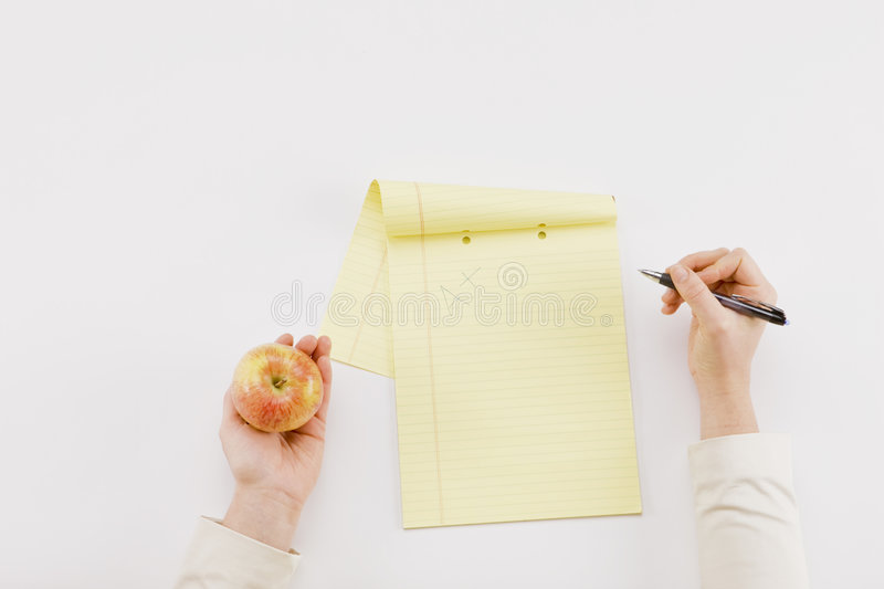 Apple Pen Paper royalty free stock photography