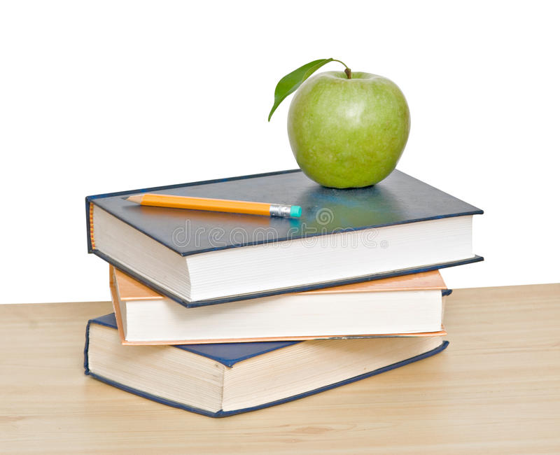 Download Apple And Pencil On Top Of Books Stock Image - Image: 10132927