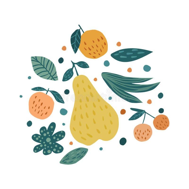 Apple, pera, bagas da cereja e folhas em um fundo branco ilustração royalty free