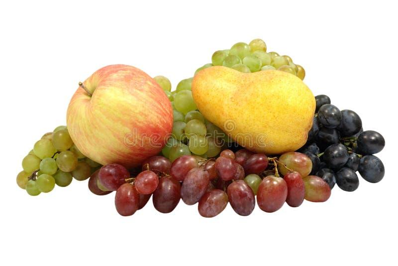 Apple, pera ed uva. Isolato. fotografia stock