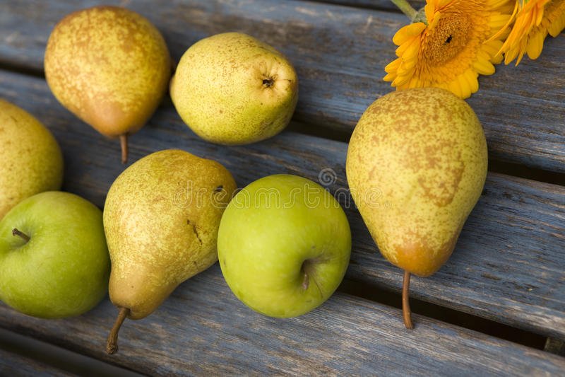 Apple, pera y flor amarilla imagen de archivo libre de regalías
