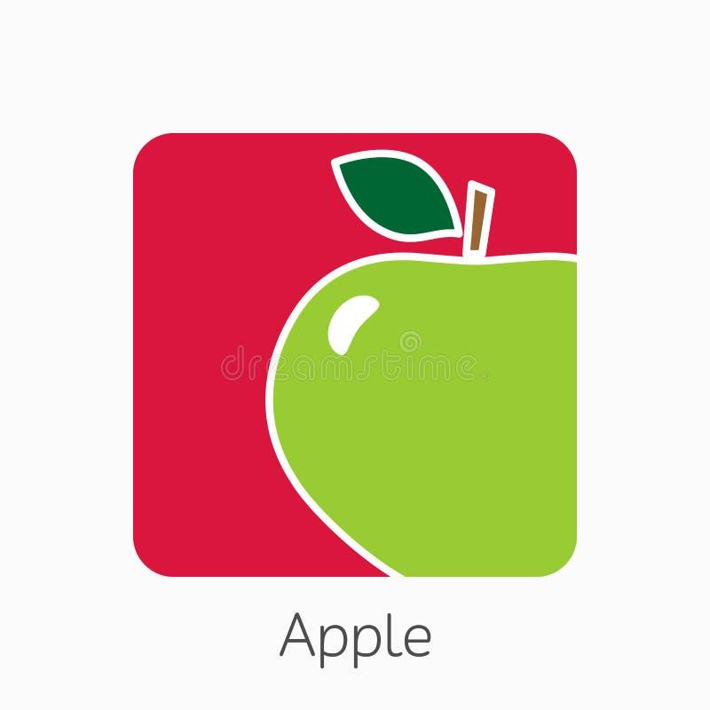 Apple-pictogram eenvoudige vlakke vectorillustratie Vers appelteken stock illustratie