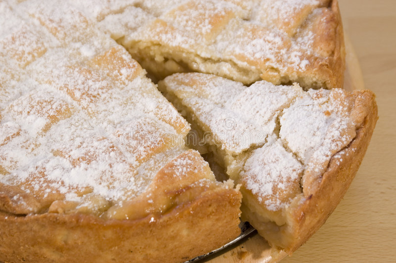 Apple pie. Baked cake background with sugar stock photography