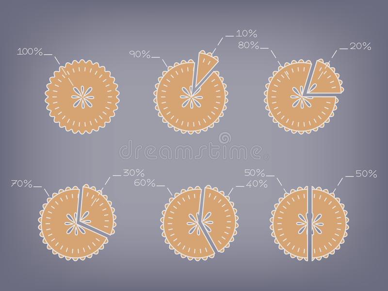 Apple pie chart vector with percentage royalty free illustration