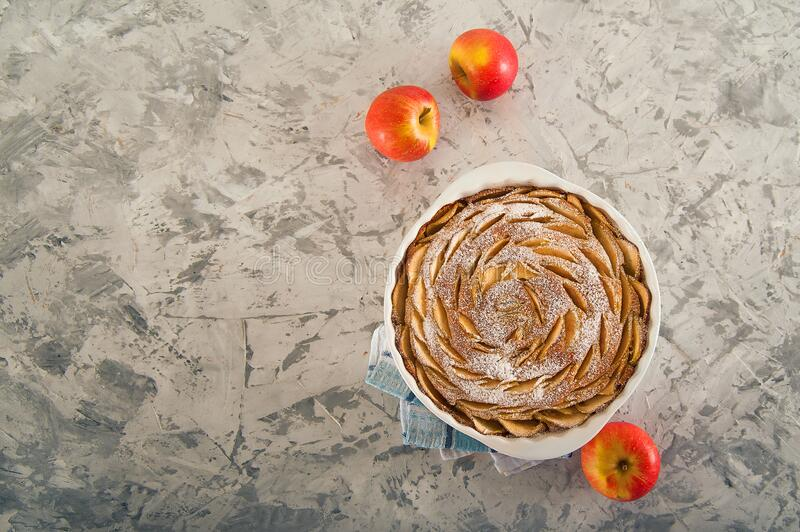 Apple pie close-up and copy space. Thanksgiving with apple pie royalty free stock photo