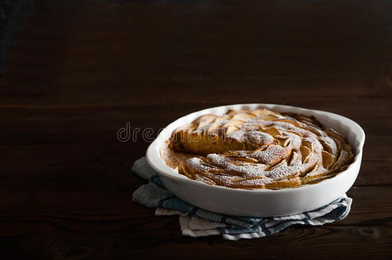 Apple pie close-up and copy space. Thanksgiving with apple pie royalty free stock image