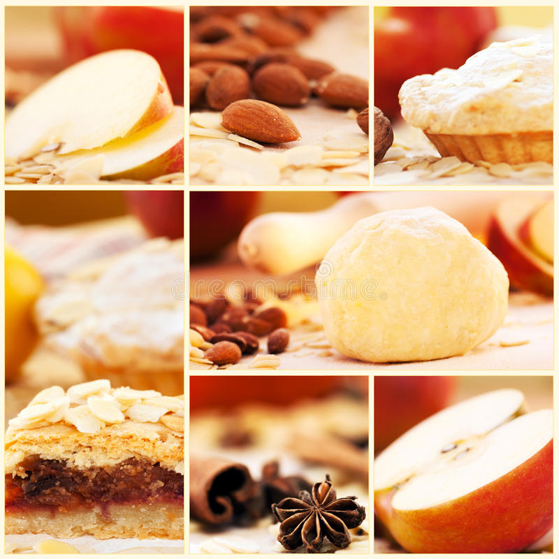 Apple pie collage royalty free stock photo