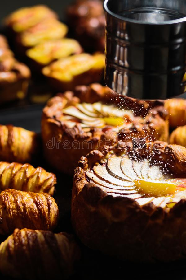 Download Apple pie and Croissant stock image. Image of front - 105464925