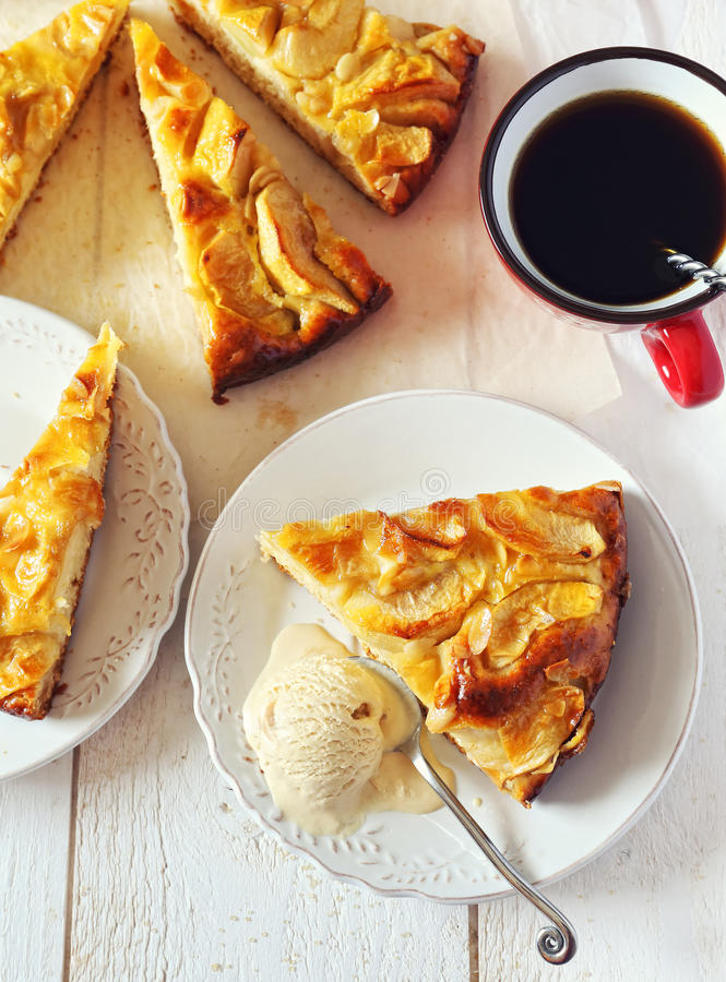 Apple pie, ice cream and cup of coffee royalty free stock images