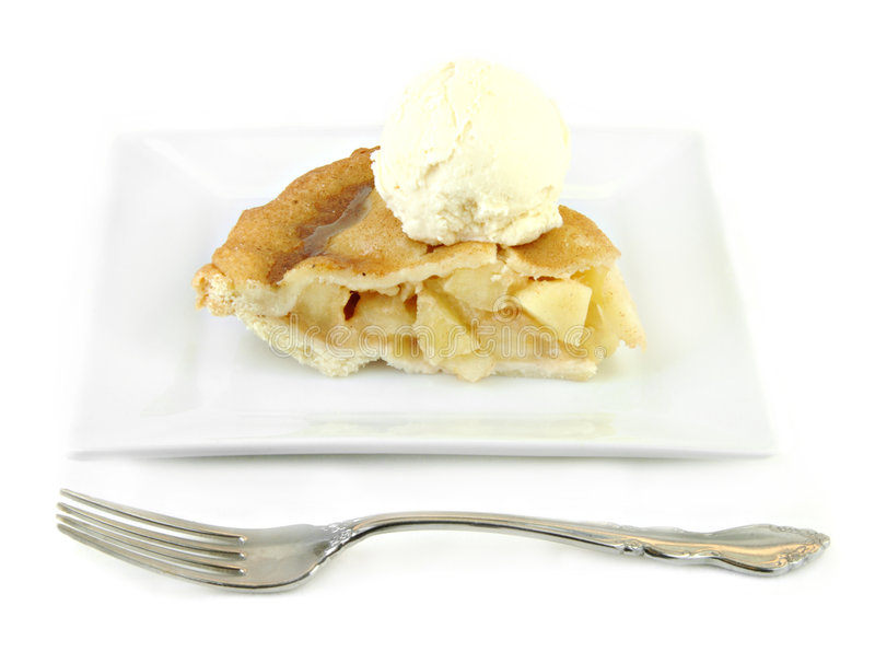 Apple Pie with Ice Cream on White Plate stock image