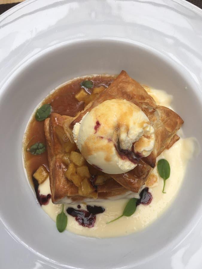 Apple pie icecream stock images