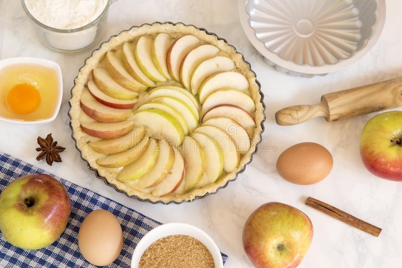 Apple pie preparation royalty free stock images