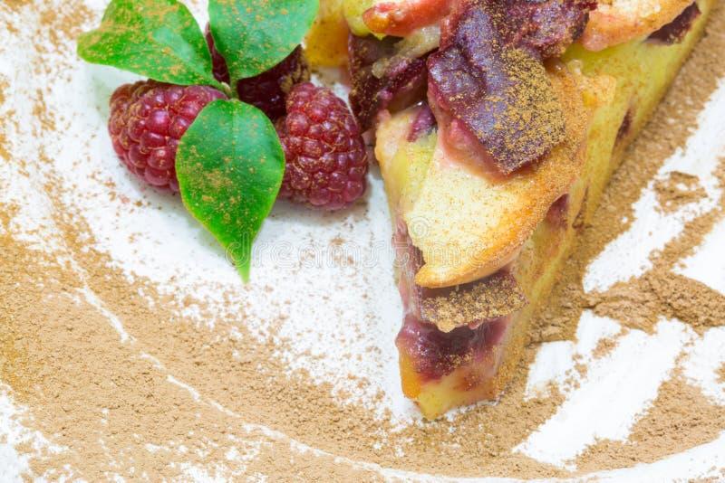 Apple pie with red raspberry, clafoutis fruit pie. Apple pie with red raspberry, clafoutis t pie, homemade pie, organic pie stock photos