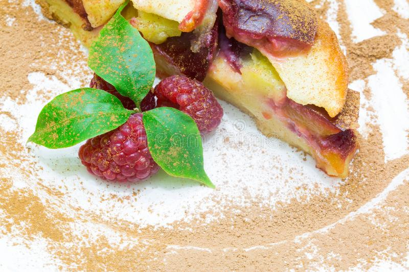 Apple pie with red raspberry, clafoutis frut pie. Apple pie with red raspberry, clafoutis t pie royalty free stock photography