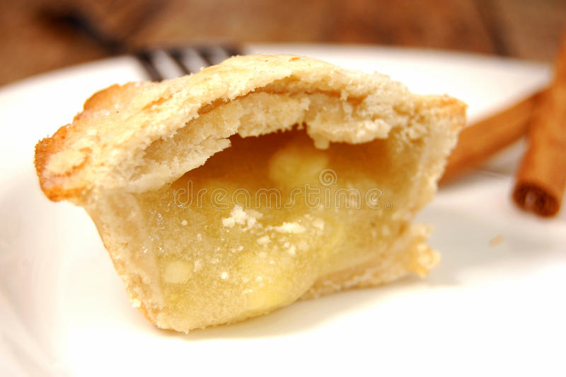 Apple pie slice. Closeup of apple pie filling royalty free stock photography