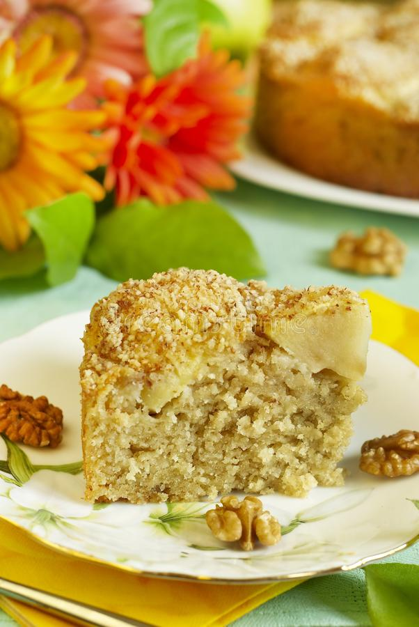 Download Apple pie with walnuts stock photo. Image of fruit, napkin - 14016300
