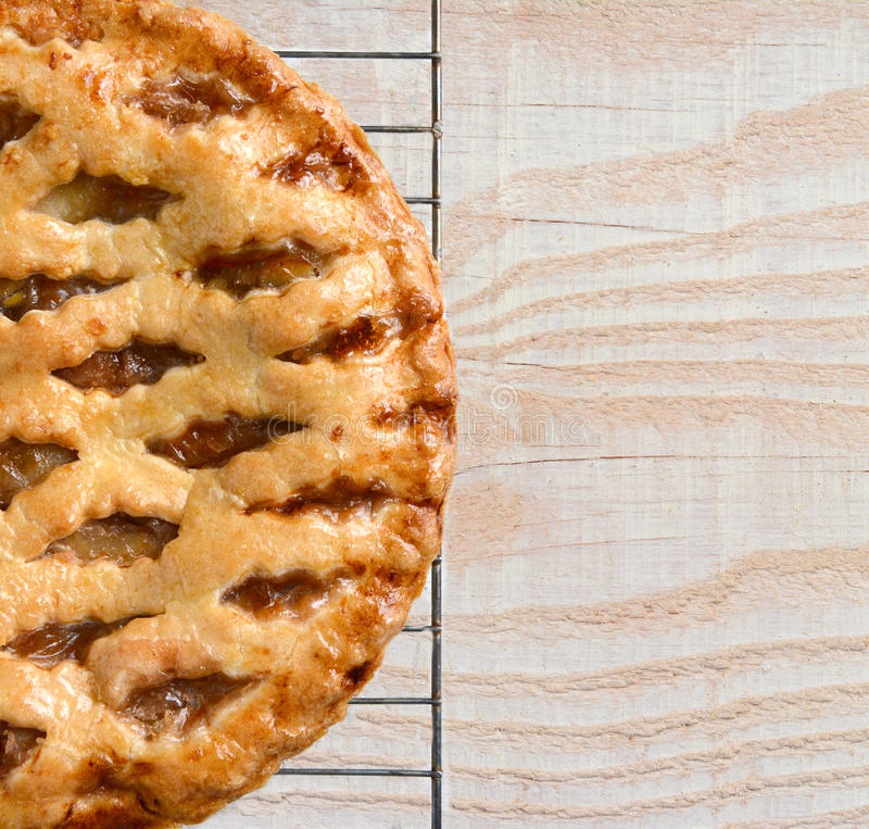 Apple Pie on Wood Table stock photography