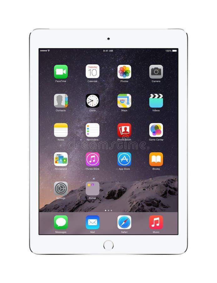 Apple platea el aire 2 del iPad con IOS 8, diseñado por Apple Inc fotografía de archivo libre de regalías