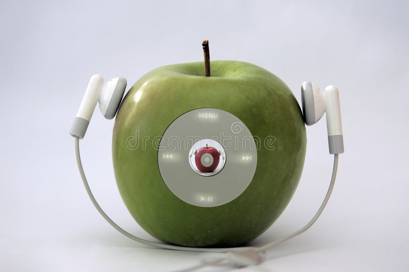 Apple player. Headphones wire turn in to player music apple with glowing menu stock photo