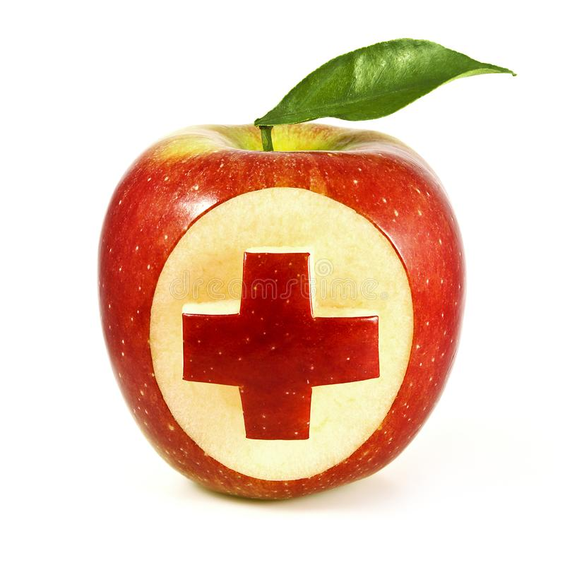 Apple Plus Sign. Red apple plus sign on white background stock image