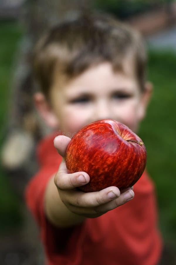 Apple pojke royaltyfria bilder